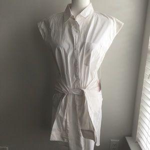 White sleeveless button up dress forever 21